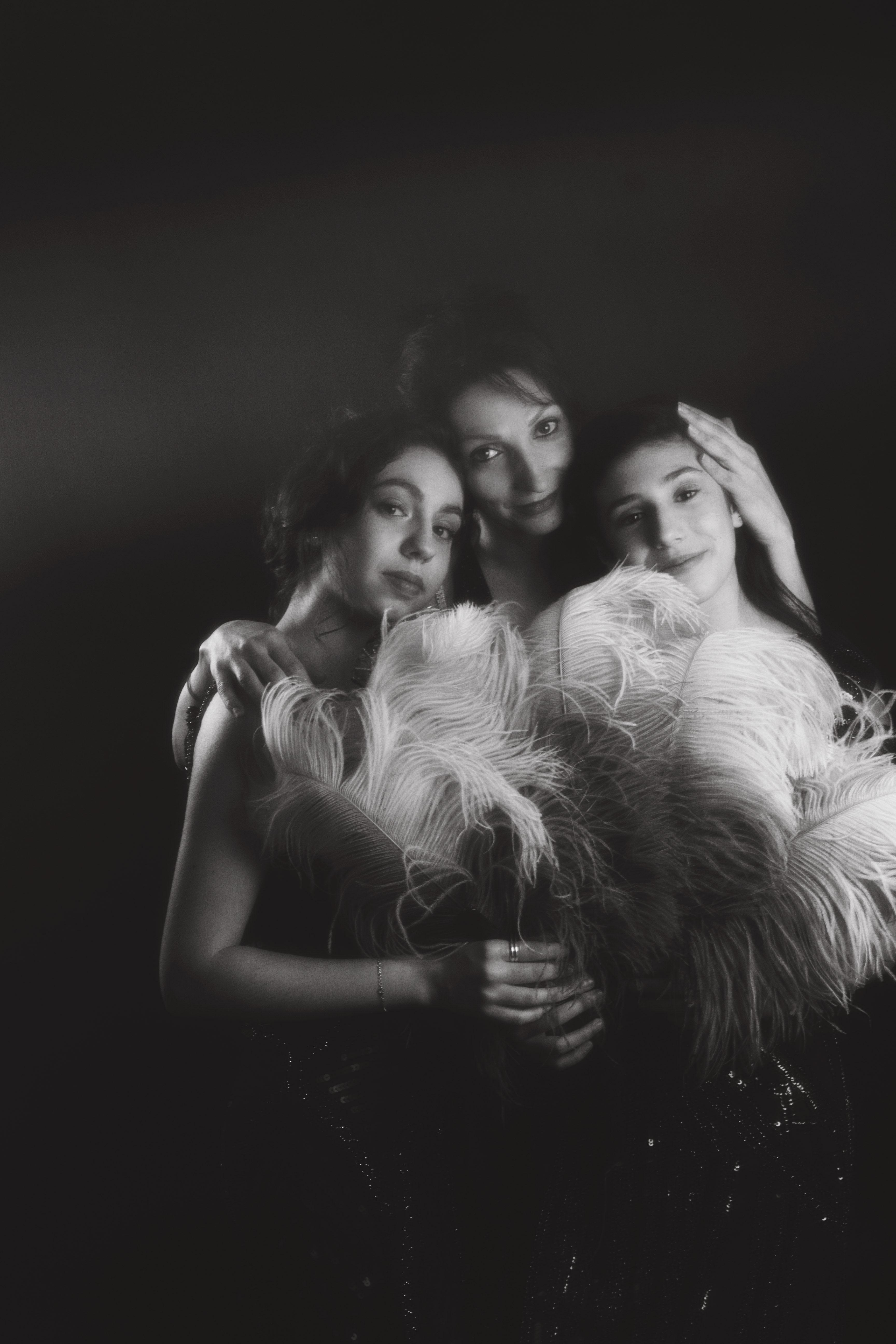 portrait studio mère fille vintage